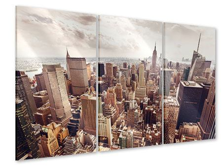 3 Piece Acrylic Print Skyline Over The Roofs Of Manhattan