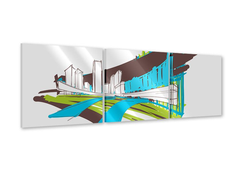 Panoramic 3 Piece Acrylic Print Graffiti Street Art