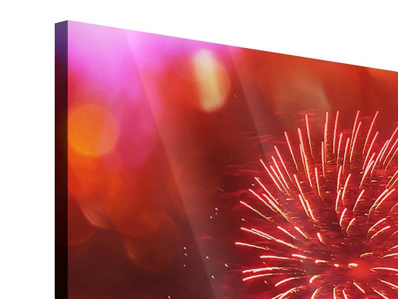 Modern 3 Piece Acrylic Print Colorful Fireworks