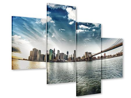 Modern 4 Piece Acrylic Print Brooklyn Bridge From The Other Side