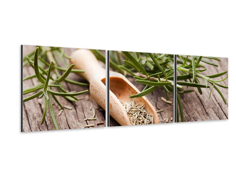 Panoramic 3 Piece Aluminium Print Rosemary