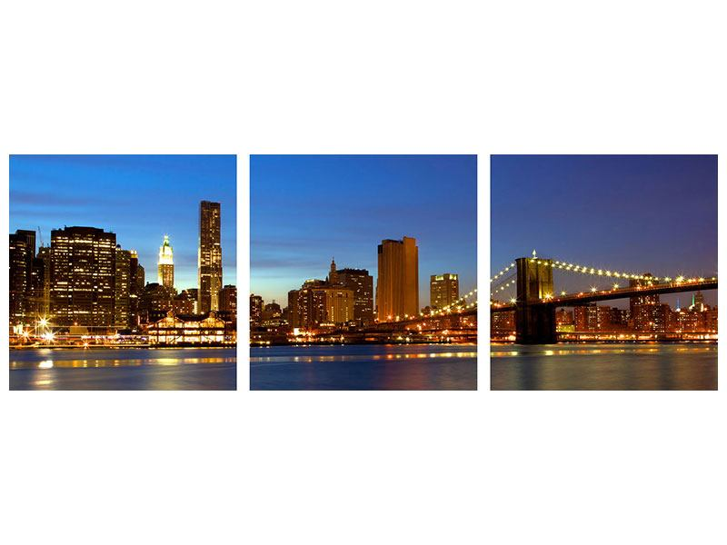 Panoramic 3 Piece Aluminium Print Skyline Manhattan In Sea Of Lights