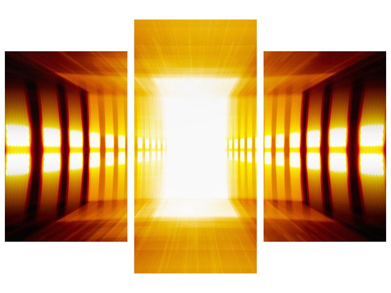 Modern 3 Piece Aluminium Print Abstract Golden Room