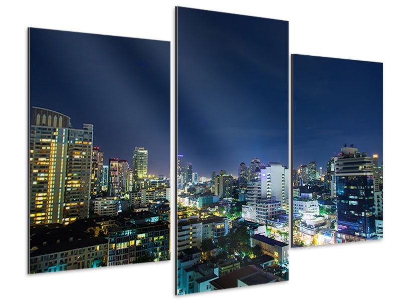Modern 3 Piece Aluminium Print Skyline Night In Bangkok
