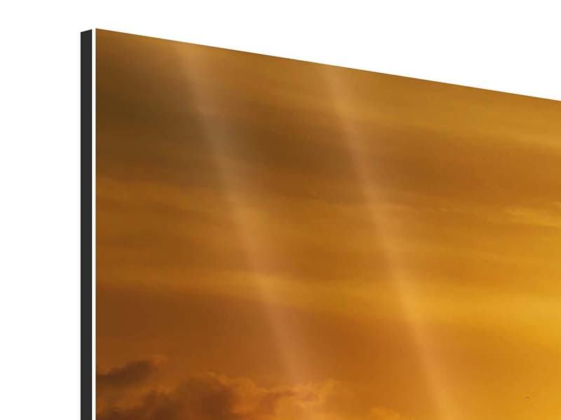 Modern 3 Piece Aluminium Print Sunset Lake