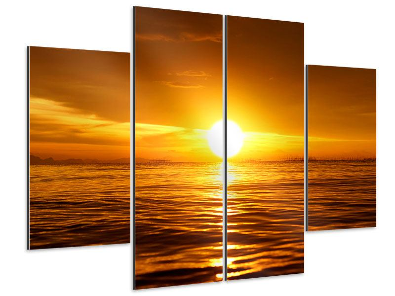4 Piece Aluminium Print Glowing Sunset On The Water
