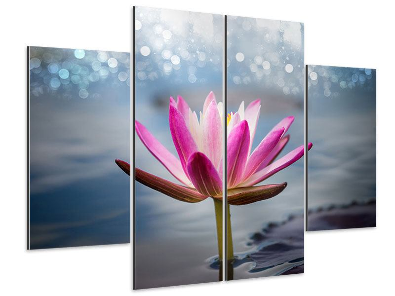 4 Piece Aluminium Print Lotus In The Morning Dew