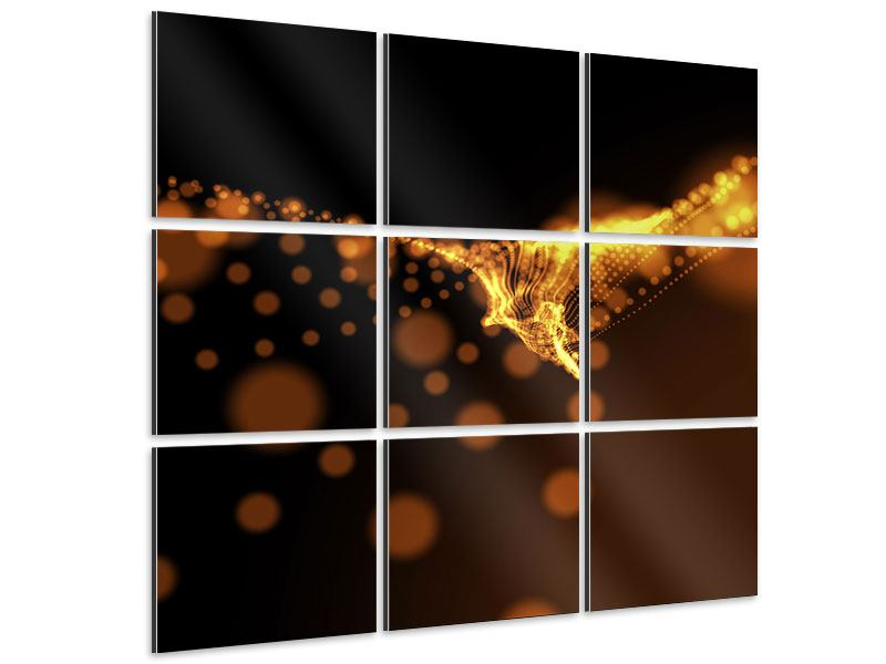 Tableau Aluminium en 9 parties Perles d'or