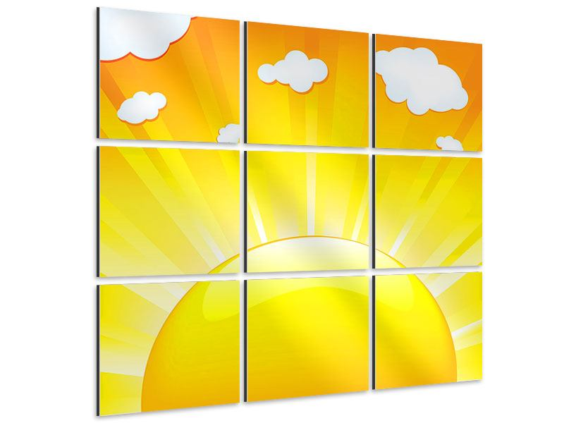 9 Piece Aluminium Print The Sun Rises