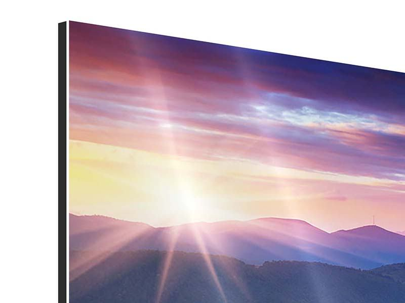 9 Piece Aluminium Print Sunset In The Mountain Scenery
