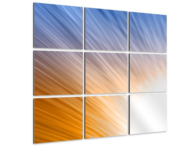 9 Piece Aluminium Print Abstract Play Of Light