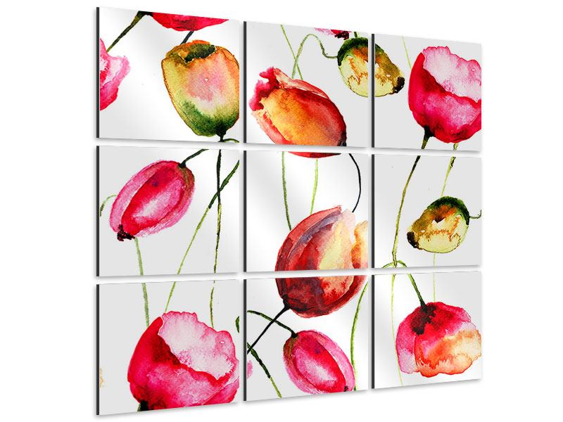 9 Piece Aluminium Print Painting The Tulips