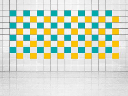 Tile Decor Sun Yellow (A706-01) and Turquoise (A731) Set of 20