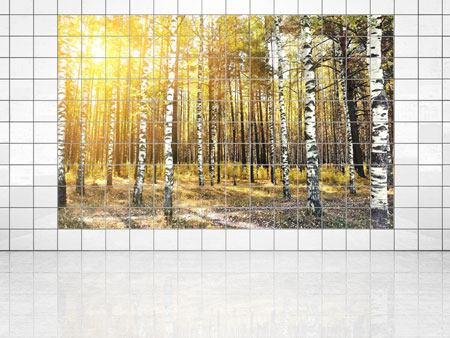 Tile Print Birch Forest