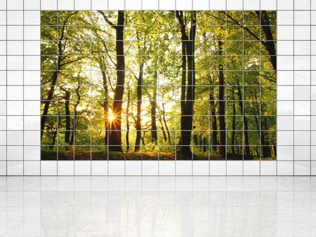 Tile Print Sunset Between Trees