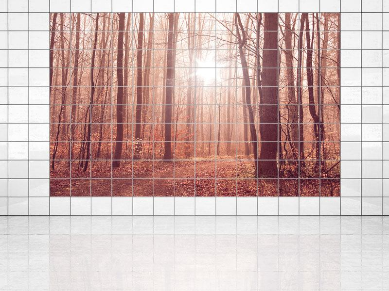 Tile Print Sunset In Autumn Forest
