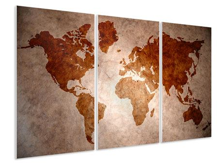 3 Piece Forex Print Vintage Map Of The World