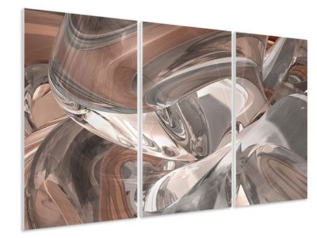 3 Piece Forex Print Abstract Glass Tiles