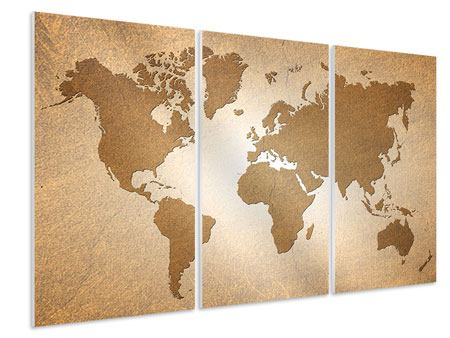 3 Piece Forex Print Map Of The World In Vintage
