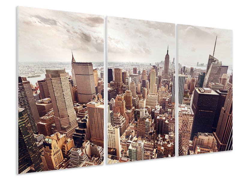 3 Piece Forex Print Skyline Over The Roofs Of Manhattan