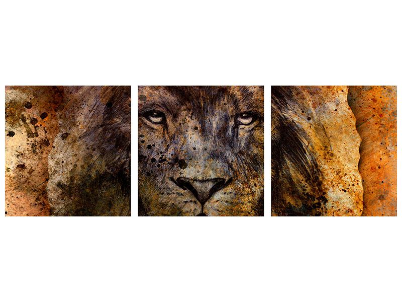Tableau Forex en 3 parties Panoramique Portrait d'un lion