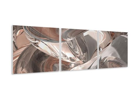 Panoramic 3 Piece Forex Print Abstract Glass Tiles