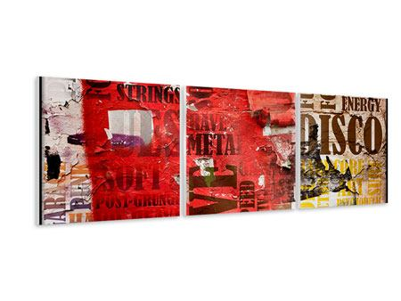 Panoramic 3 Piece Forex Print Music Text In Grunge Style