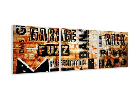 Panoramic 3 Piece Forex Print Rock In Grunge Style
