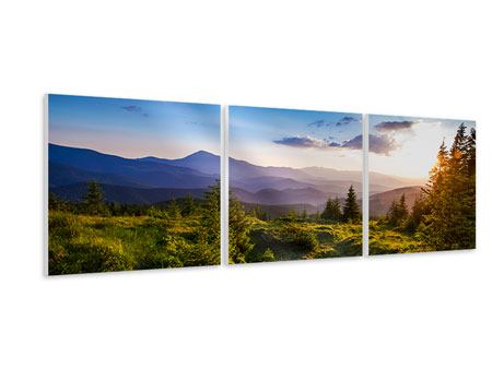 Panoramic 3 Piece Forex Print Peaceful Landscape