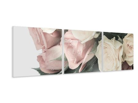 Panoramic 3 Piece Forex Print Romantic Rose
