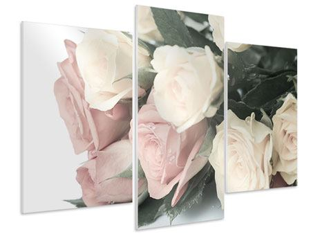 Modern 3 Piece Forex Print Romantic Rose