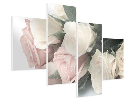 Modern 4 Piece Forex Print Romantic Rose
