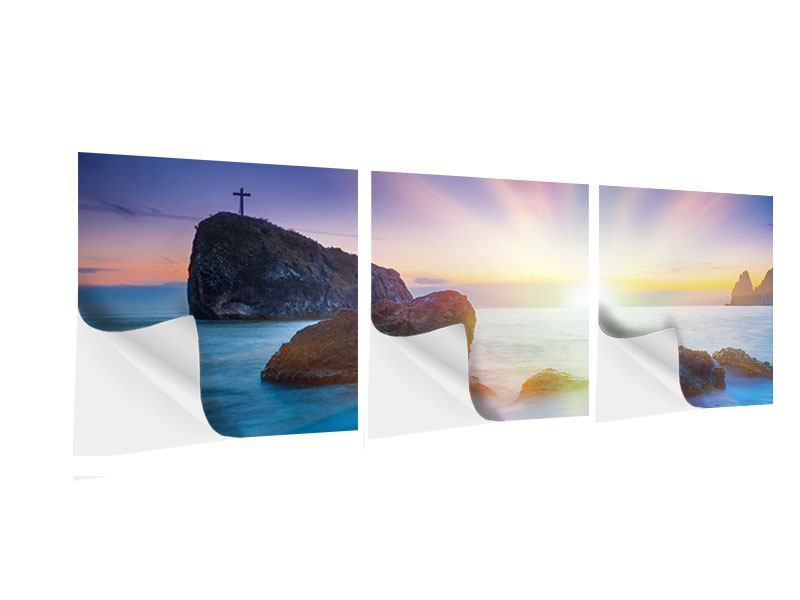 Posters adhesif en 3 parties Panoramique Mer mystique