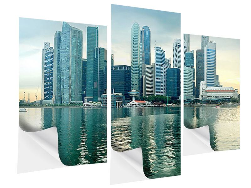 Modern 3 Piece Self-Adhesive Poster Skyline Sunrise in Singapore