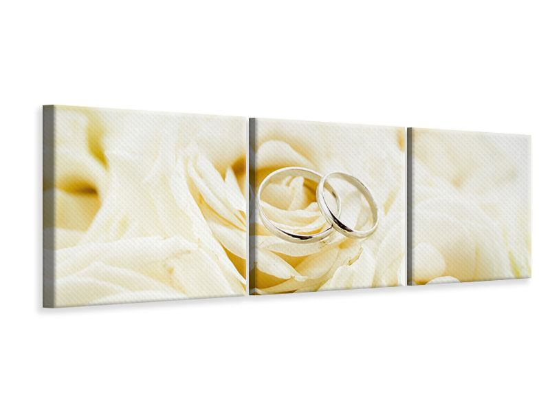 Panoramic 3 Piece Canvas Print Rings On Roses