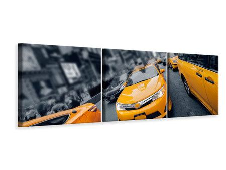 Panoramic 3 Piece Canvas Print Taxi In NYC