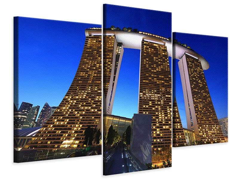 Modern 3 Piece Canvas Print Skyscraper Singapore