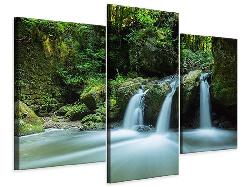 Modern 3 Piece Canvas Print Falling Water in the Wood