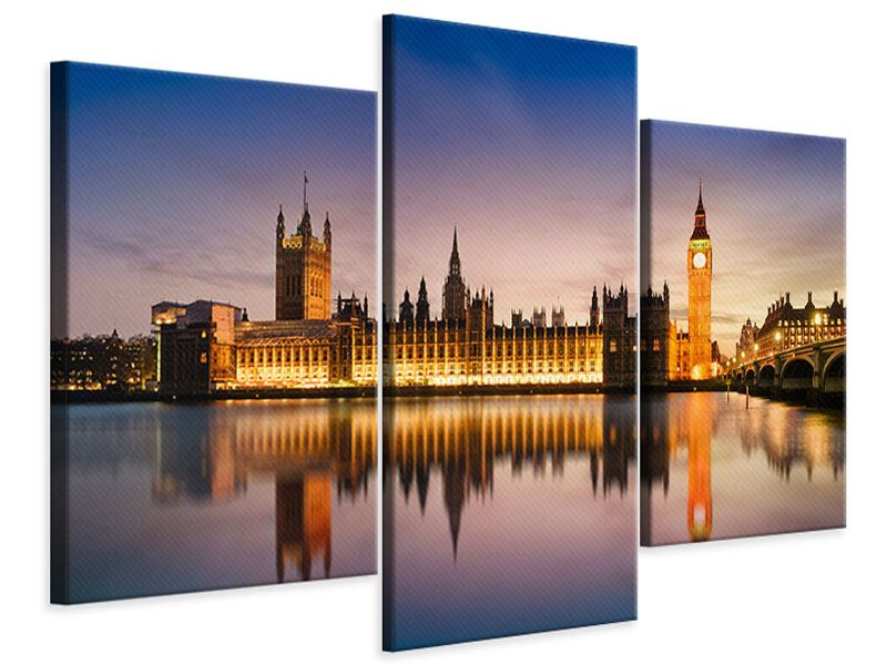 Modern 3 Piece Canvas Print Big Ben At Night