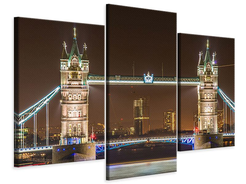 Modern 3 Piece Canvas Print Tower Bridge At Night