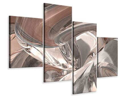Modern 4 Piece Canvas Print Abstract Glass Tiles