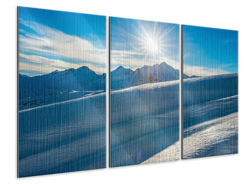 3 Piece Metallic Print Winter's Tale In The Mountains