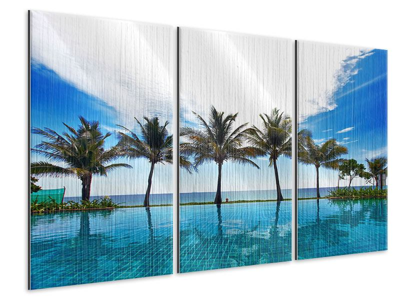 3 Piece Metallic Print Beach Villa