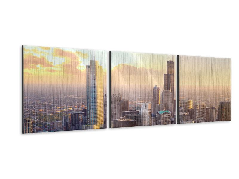 Panorama Metallic-Bild 3-teilig Skyline Chicago