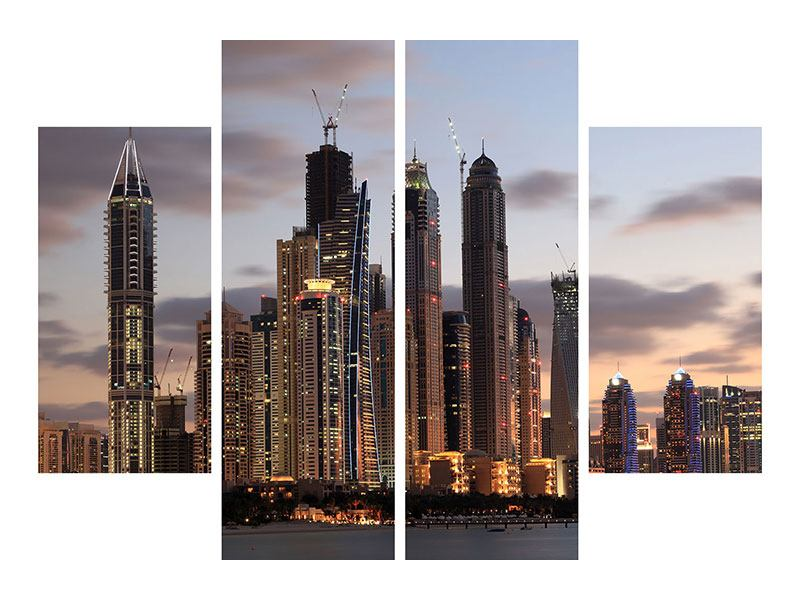 4 Piece Metallic Print Skyline Dubai At Sunset