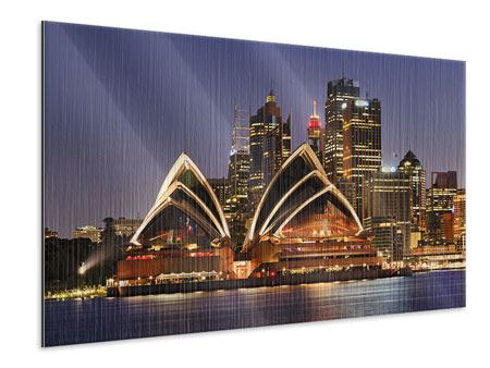 Metallic Print Skyline With The Boat In Front Of Sydney