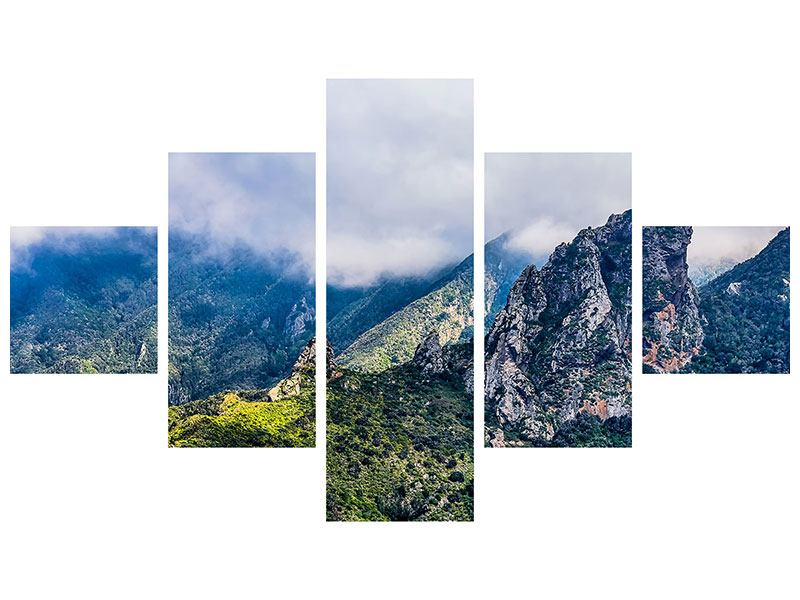 5 Piece Metallic Print The Silent Mountain