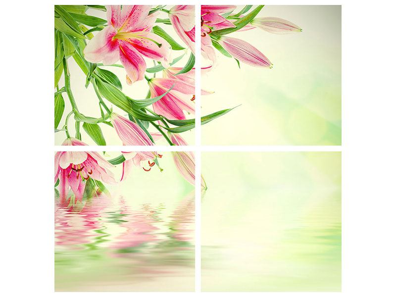 4 Piece Poster Lilies On Water