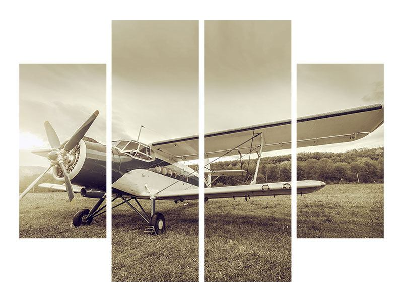 4 Piece Poster Nostalgic Aircraft In Retro Style