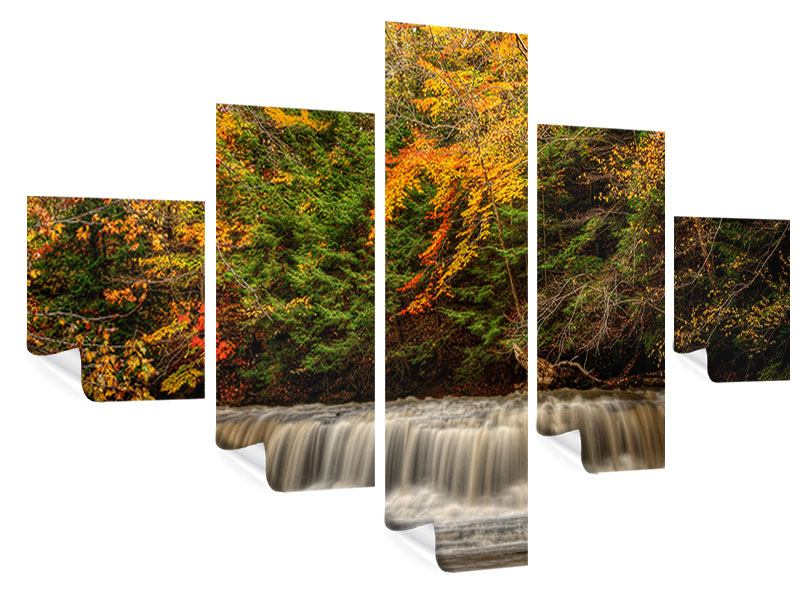 5 Piece Poster Autumn At The Waterfall